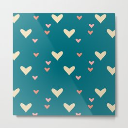 Teal heart Metal Print