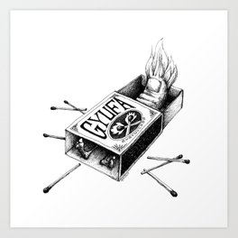 Combustible Thumb Tee - clean black ink for light T-shirts Art Print