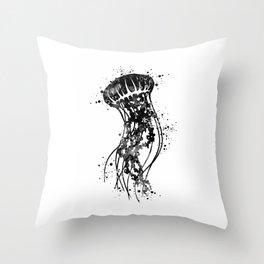 Jellyfish Art Black and White Watercolor Art Gift Ocean Life Throw Pillow