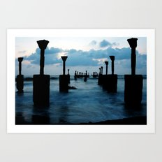 Pillars by the sea Art Print