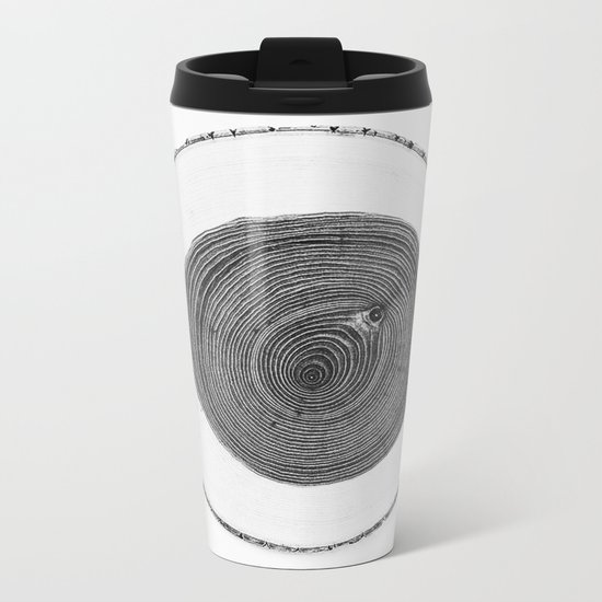 Cut wood -Scandinavian art Metal Travel Mug