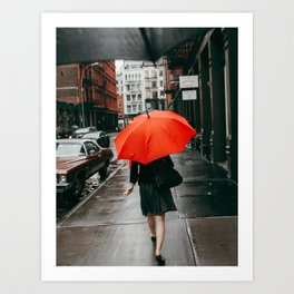 The Woman With The Red Umbrella Art Print