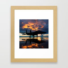 Fighter Jet Airplane at Sunset Military Gifts Framed Art Print