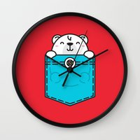 pocket Wall Clocks featuring Pocket Polar by Steven Toang