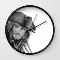 jack sparrow Wall Clocks featuring Captain Jack Sparrow by Celeste Roddom