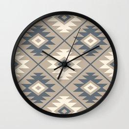 Aztec Symbol Stylized Pattern Blue Cream Sand Wall Clock