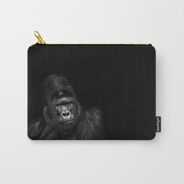 Portrait of a male gorilla on black background. Grave look of the great ape Carry-All Pouch