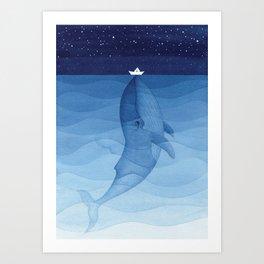 Whale blue ocean Art Print