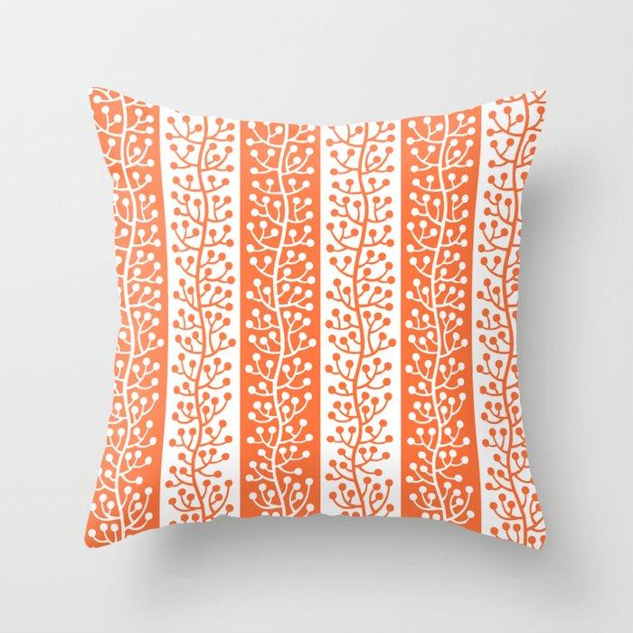 Mid Century Modern Berry Vine Stripes Orange Throw Pillow