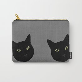 can I pet your cat? no. black cat portrait Carry-All Pouch