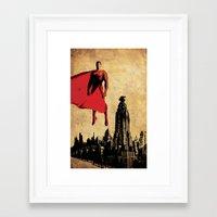 justice league Framed Art Prints featuring Superman justice league by Edmond Lim