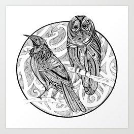 Tui and Morepork Art Print
