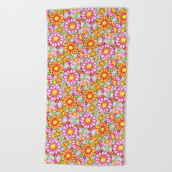 Summer Daisies Tiled Pattern Beach Towel