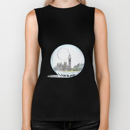 London painted in pastel colours in a glass bowl Biker Tank