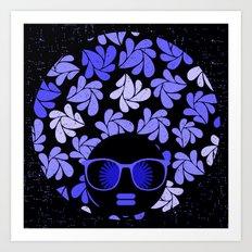 Afro Diva : Indigo Blue Periwinkle Art Print