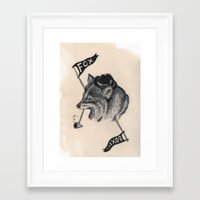 boxing Framed Art Prints featuring fox boxing by Alain Cheung