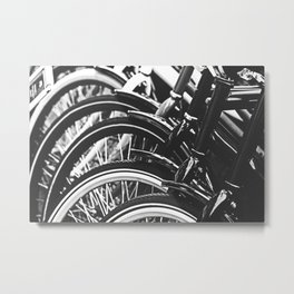 Bicycles, Bikes in Black and White Photography Metal Print