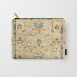 Fine Crafted Old Century Authentic Colorful Yellow Dusty Blues Greys Vintage Rug Pattern Carry-All Pouch