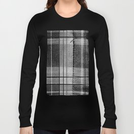 Stitched Plaid in Black and White Long Sleeve T-shirt