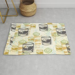 Dad Is Home Retro Midcentury Whiskey Pattern Rug