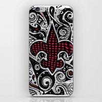 fleur de lis iPhone & iPod Skins featuring Fleur de Lis Magenta by Janin Wise