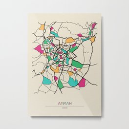 Colorful City Maps: Amman,Jordan Metal Print