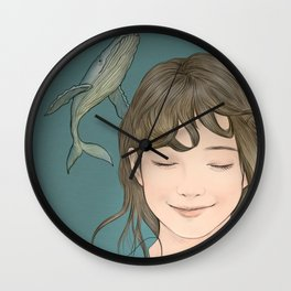 GIRL WITH WHALES Wall Clock