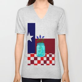 Texas Flag and Blue Bonnets Unisex V-Neck