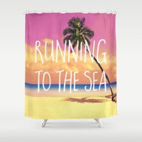 running Shower Curtains featuring Running to the Sea by Text Guy