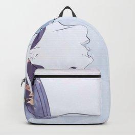 Elegant Woman and Feline Artwork Backpack