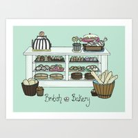 british Art Prints featuring British Bakery by Hayley Bowerman Design