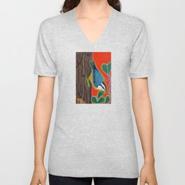 Red Breasted Nuthatch Unisex V-Neck