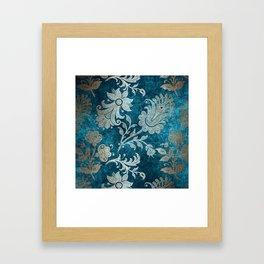 Aqua Teal Vintage Floral Damask Pattern Framed Art Print