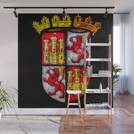 Lion Castle coat of arms red yellow Wall Mural
