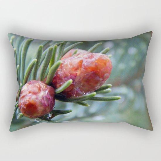 Tiny Red Pine Cones Rectangular Pillow