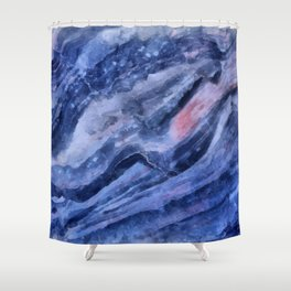 Blue watercolor marble Shower Curtain