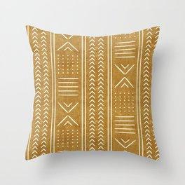 mustard mud cloth - arrow cross Throw Pillow