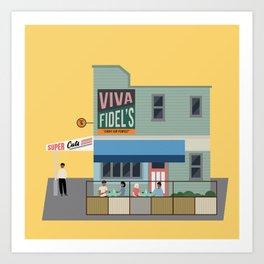 Fidel's Cafe, Cuba Street, Wellington, NZ Art Print