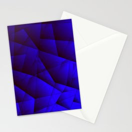 Dark contrasting blue fragments of crystals on triangles of irregular shape. Stationery Cards