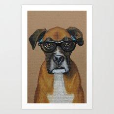 Hipster Boxer dog Art Print