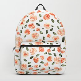 Peach Roses with Olive Leaves // Hand Painted Watercolor Flowers // Peach Roses with Green Leaves Backpack