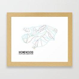 Homewood Ski Resort, CA - Minimalist Trail Art Framed Art Print