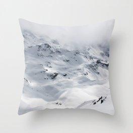 Switzerland snow peak mountains in Verbier Ski Snowboard Throw Pillow