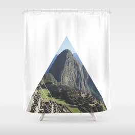 Machu Picchu - Geometric Photography Shower Curtain