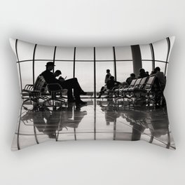black&white- airport-travel-journey-expectation-silhouette-adventure Rectangular Pillow