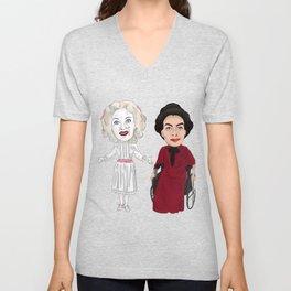 Whatever Happened to Baby Jane, Bette Davis, Joan Crawford Inspired Illustration Unisex V-Neck