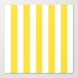 Banana yellow - solid color - white vertical lines pattern Canvas Print