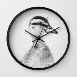 Duckling - Black & White Wall Clock