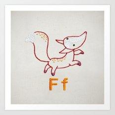 F Fox Art Print