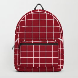 Carmine - purple color -  White Lines Grid Pattern Backpack